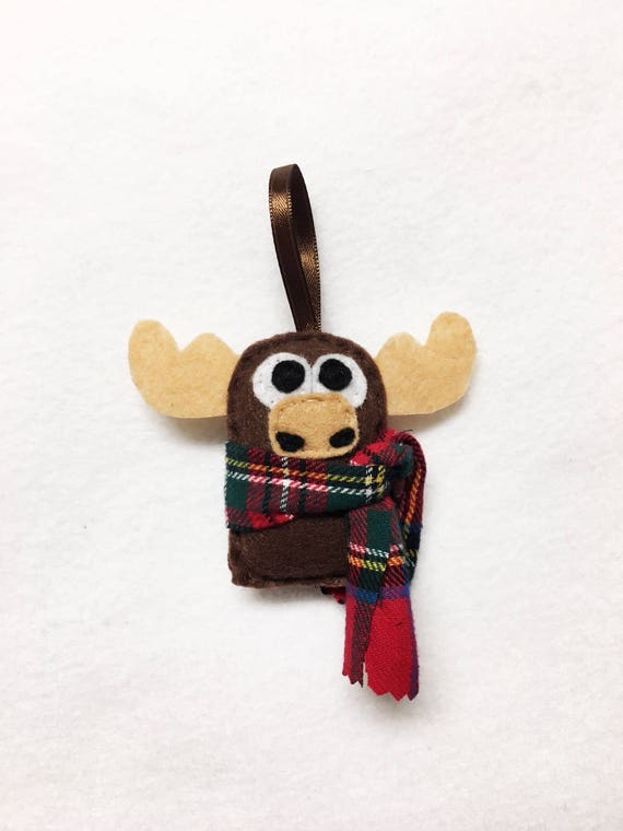 Moose Ornament, Christmas Ornament, Felt Ornament, Ned the Baby Moose, Woodland Animal, Gifts for Kids, Stocking Stuffer