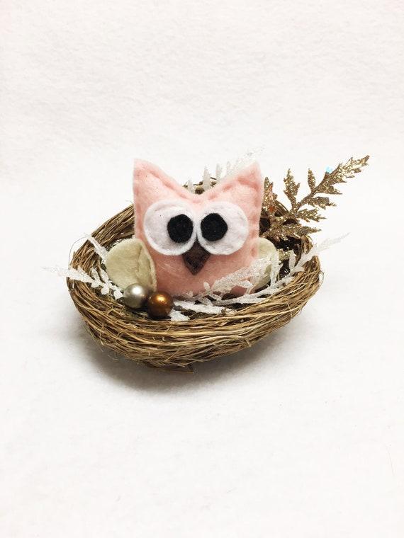Owl Nest Ornament, Neutral Pink and Gold Christmas Mantle Decoration, Farmhouse Christmas Decor
