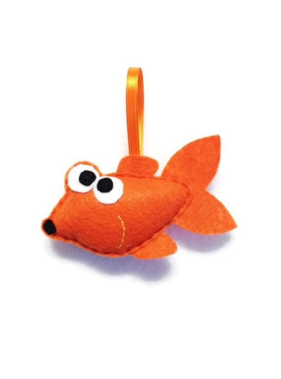 Goldfish Ornament, Christmas Ornament, Wilford the Goldfish - Made to Order, Felt Animal, Fish Ornament, Orange