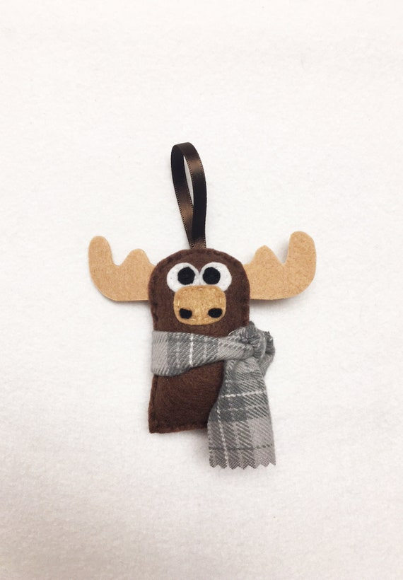 Moose Ornament, Christmas Ornament, Felt Ornament, Ned the Moose, Woodland Animal, Gifts for Kids, Gifts under 10, Farmhouse Decor, Rustic