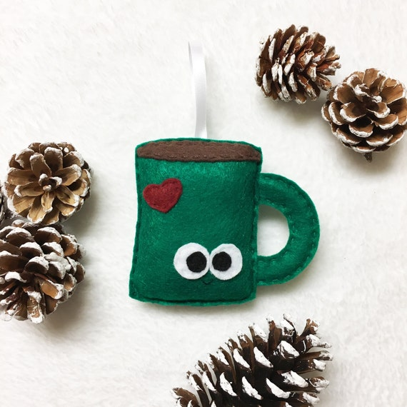 Coffee Mug Ornament, Christmas Ornament, Dillon the Coffee Mug - Tea Cocoa Mug Ornament - Made to Order