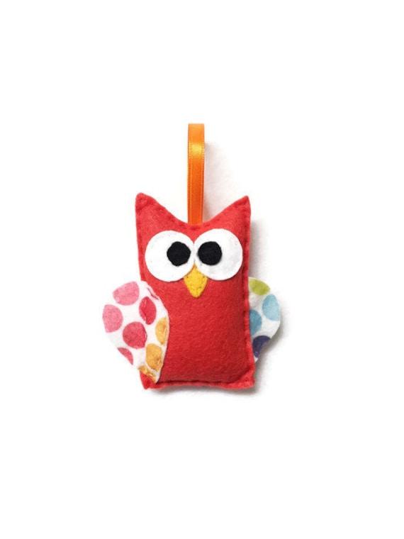 Owl Ornament, Christmas Ornament, Clinton the Owl - Polka Dot Wings
