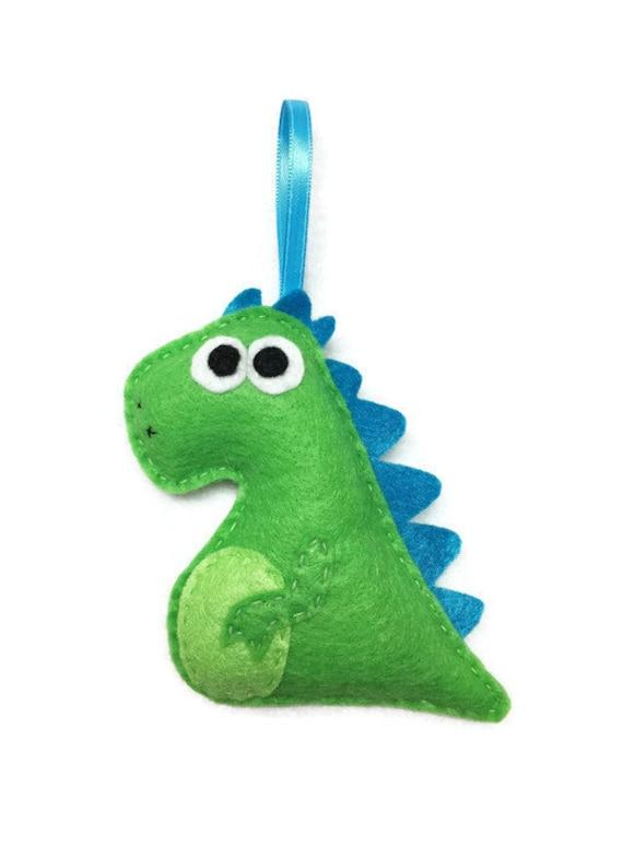 Dinosaur Ornament, Christmas Ornament, Maurice the Dinosaur, Felt Ornament, Felt Animal, Gifts under 20