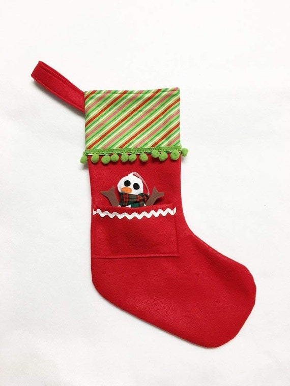 Red Stocking, Christmas Stocking, Pocket Stocking, Snowman Ornament