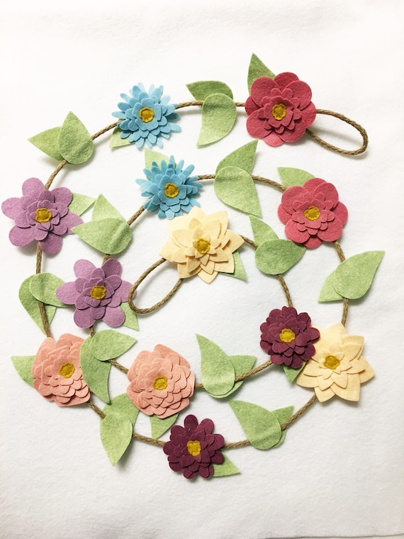 Felt flower garland wall decor, Flower wall hanging boho and shabby chic style