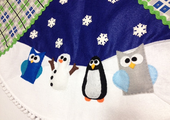 Tree Skirt, Christmas Tree Skirt, Funky Festivities - Blue Argyle , Owl, Snowman, Penguin, Felt Animals, Christmas Decoration