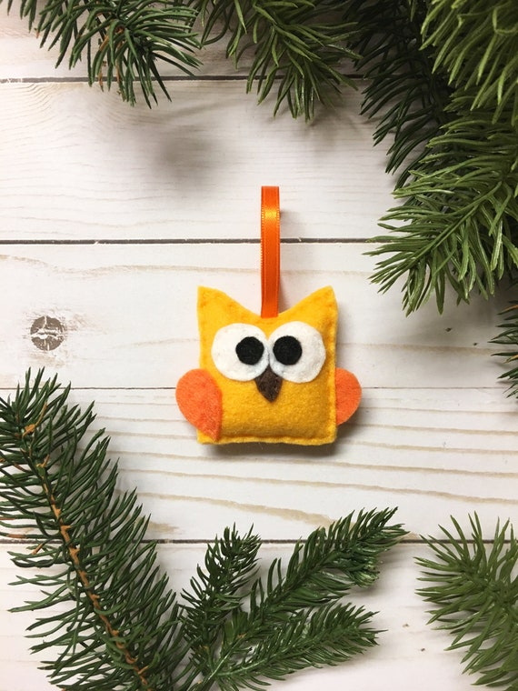 Baby Owl Ornament, Christmas Ornament - Pendleton the Gold Baby Owl