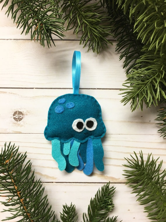 Ornament, Jelly Fish Ornament, Christmas Ornament, Burt the Teal Jellyfish