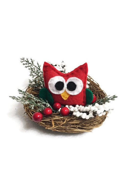 Owl Nest, Christmas Mantle Decoration, Wedding Table Centerpiece, Woodland Decoration, Red Owl, Cabin Rustic, Farmhouse Decor