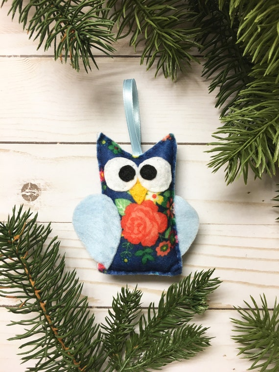 Owl Ornament, Christmas Ornament - Dilly the Floral Owl