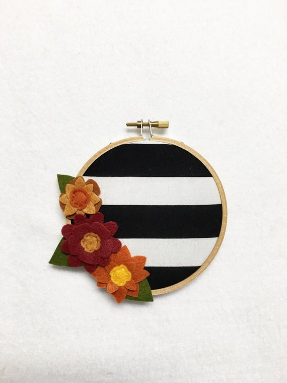 Fabric Wall Art -  Embroidery Hoop Art, Harvest Stripes, Floral Wall Decor, Hoop Wall Hanging, Felt Flower Hoop, Wedding Decor