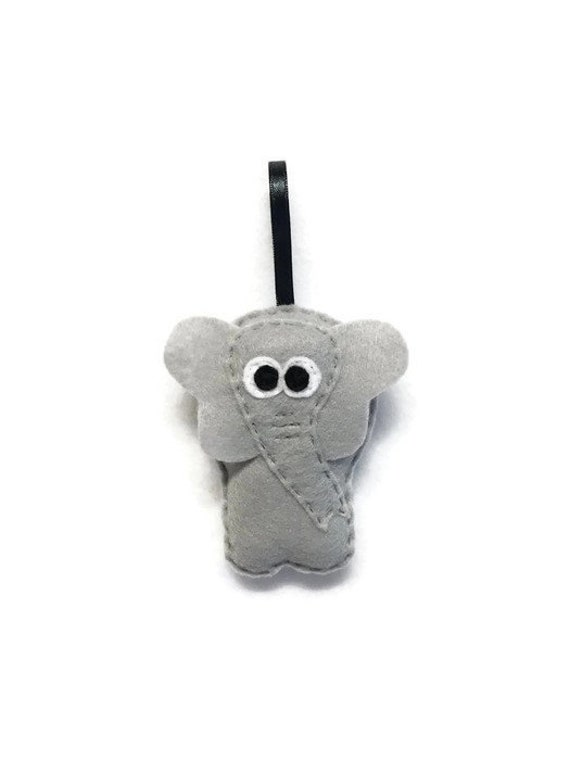 Elephant Ornament, Christmas Ornament, Eleanor the Elephant, Felt Animal, Zoo Animal, Holiday Decoration, Plush Elephant