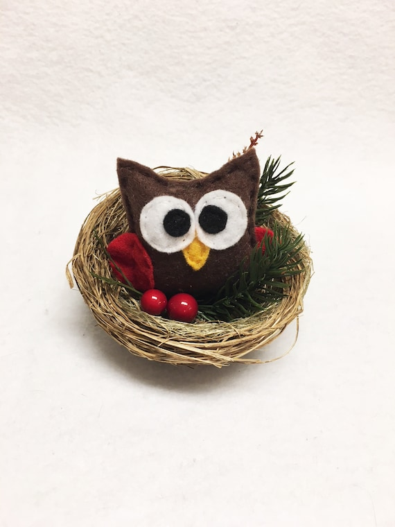 Owl Nest Christmas Ornament, Christmas Mantle Decoration, Farmhouse Christmas Decor