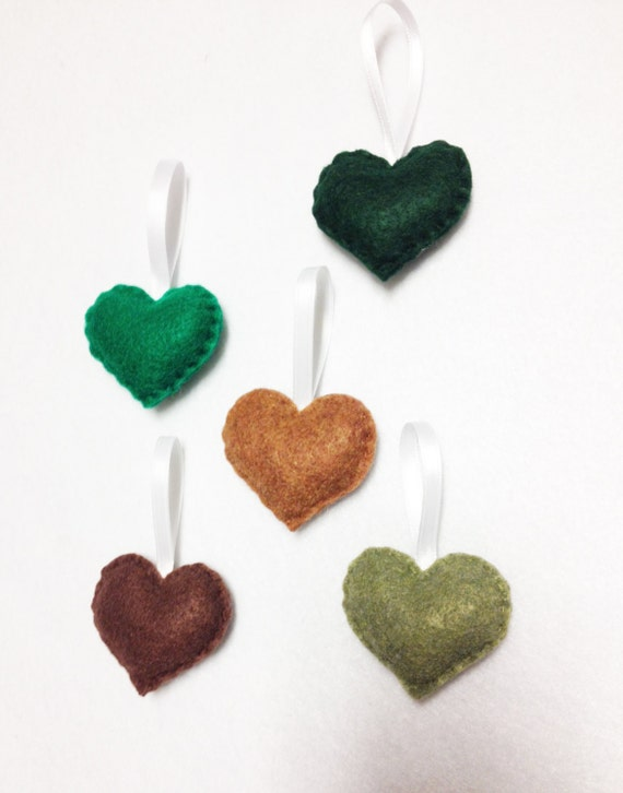 Heart Ornament, Felt Ornament Set - Greenery Sprinkle Hearts