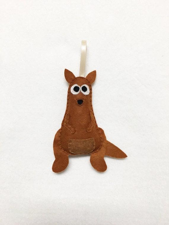 Kangaroo Ornament, Christmas Ornament, Krista the Kangaroo, Felt Animal, Roo - Made to Order