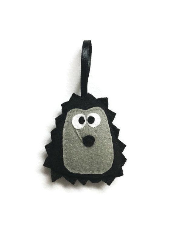 Hedgehog ornament, Terrance the Black Hedgehog, Felt Animal, Woodland Decoration, Halloween Decor