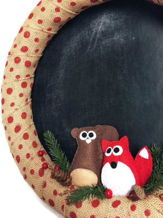 Burlap and Chalkboard Christmas Wreath, Squirrel and Fox Door Hanger, Chalkboard Fabric Background, Personal Message, Welcome Sign