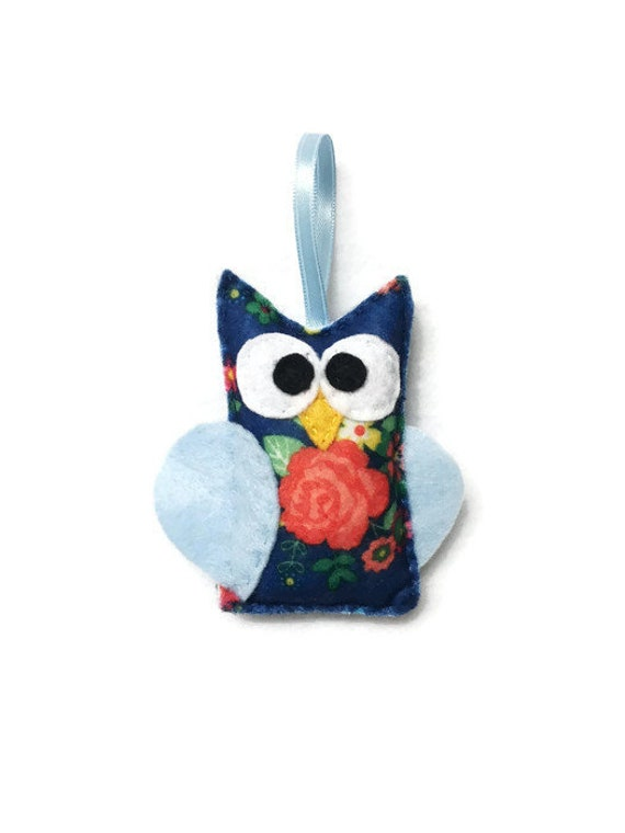 Owl Ornament, Felt Owl, Christmas Ornament - Dilly the Floral Owl
