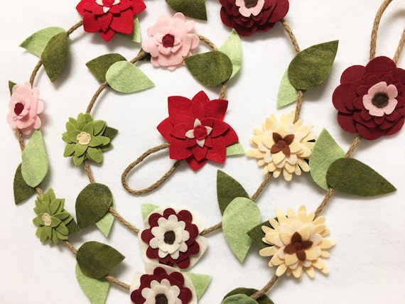 Flower Garland, Cherry Red, Felt Flower Farmhouse inspired Garland, Posable Twine