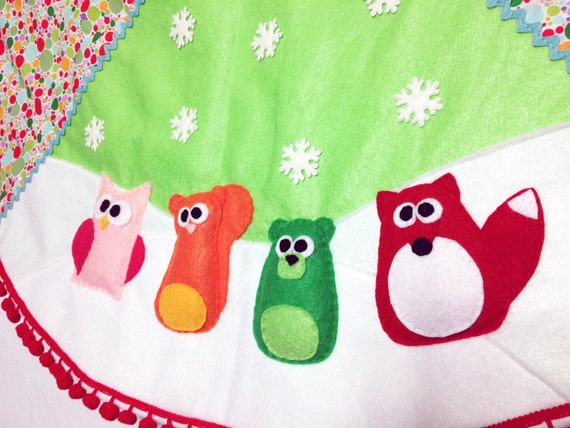 Tree Skirt, Christmas Tree Skirt, Sprinkles,  Bright Polka Dots, Fox, Squirrel, Owl, Bear, Whimsical, Woodland Felt Animal