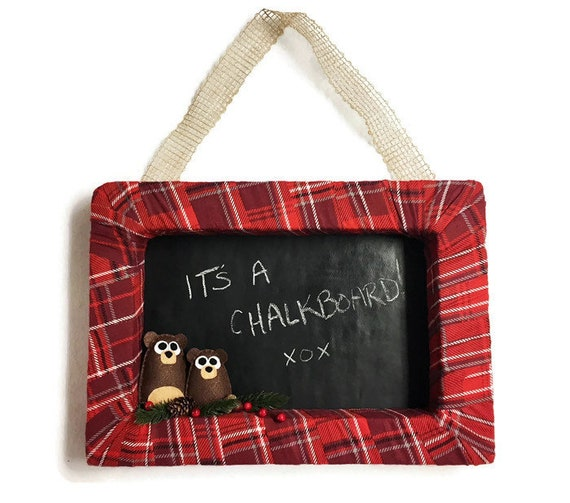 Plaid and Chalkboard Christmas Wreath, Bear Door Hanger, Chalkboard Fabric Background, Personal Message, Welcome Sign