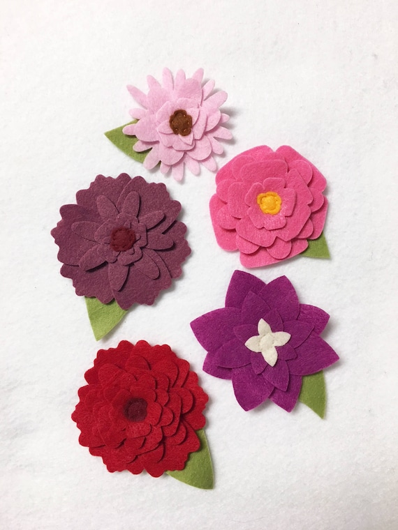 Felt Flower Decoration, Loose Flowers for Crafting and Home Decor, Shades of Pink Spring and Summer Blooms, Wedding/Party Decoration,