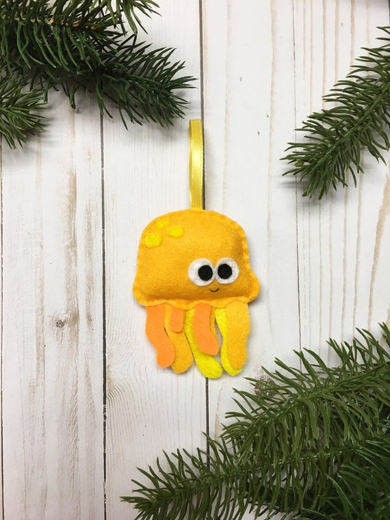 Jellyfish Ornament, Jelly Fish, Ornament, Christmas Ornament, Hubert the Yellow Jellyfish
