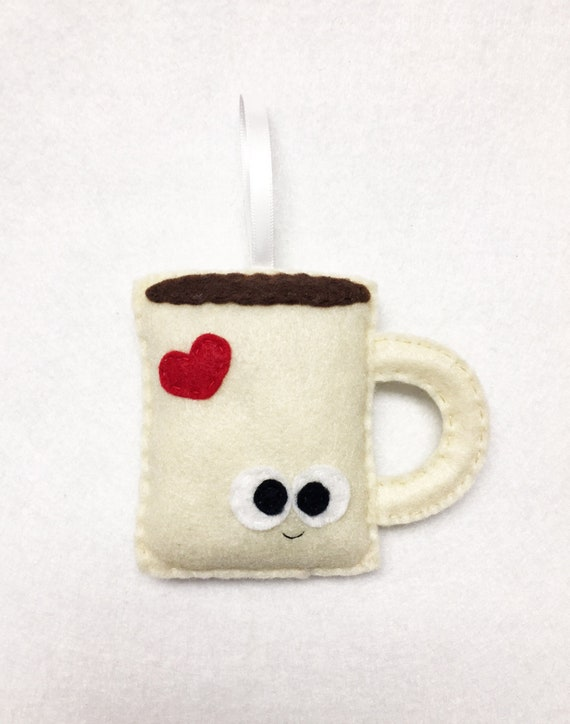 Coffee Mug Ornament, Christmas Ornament, Albert the Coffee Mug - Tea Cocoa Mug Ornament - Made to order