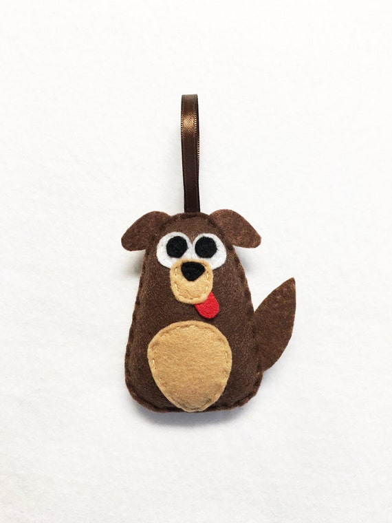 Dog Ornament, Puppy Christmas Ornament, Cullen the Mutt, Felt Ornament, Felt Animal, Holiday Decoration