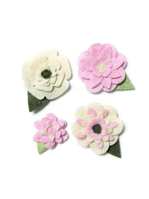 Ivory and Pink Felt Flowers, Loose Flowers for Crafting and Decor, Spring and Summer Blooms