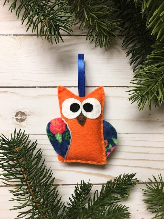 Owl Ornament, Christmas Ornament - Constance the Orange Owl