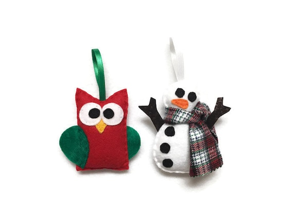 Snowman and Owl Ornaments, Set of Two Christmas Ornaments,