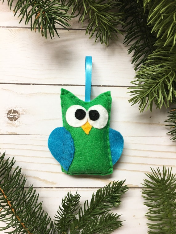 Owl Ornament, Christmas Ornament, Beauregard the Green Owl