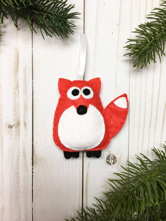 Fox Ornament, Christmas Ornament, Estelle the Coral Red Fox