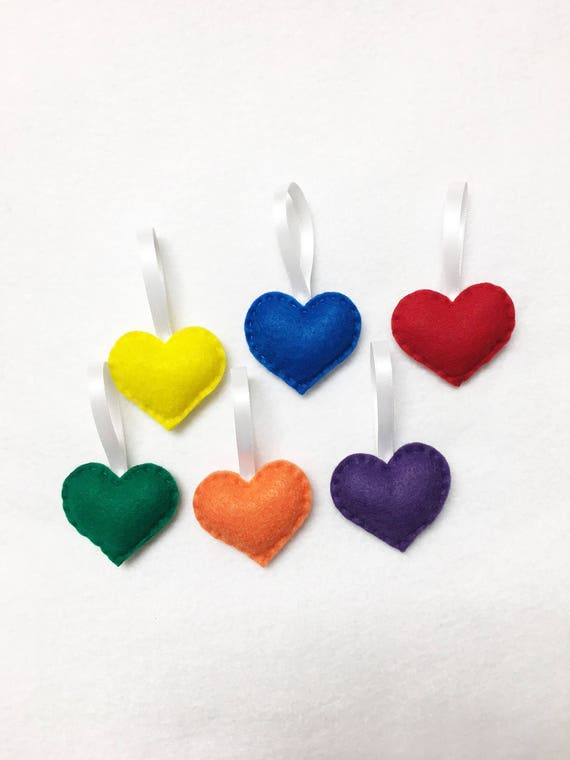 Heart Ornaments, Felt Hearts - Valentine Decoration - Primary Colors Rainbow, Set of 6