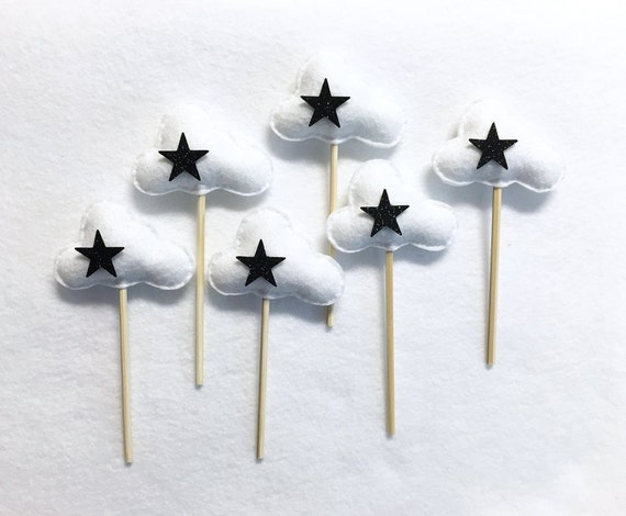 Glitter Cloud Cupcake Toppers, Party Decoration, Set of 6 Black Star Clouds, Birthday Party, New Years Party, Wizard Decoration