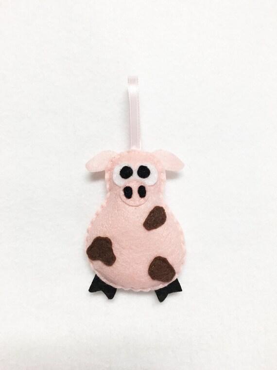 Pig Ornament, Christmas Ornament, Cheryl the Muddy Pig, Farm Animal, Felt Ornament