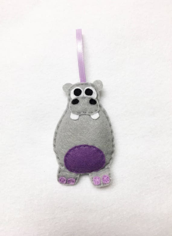 Hippo Ornament, Christmas Ornament, Harriet the Hippo, Holiday Decoration, Zoo animal, Gift Topper, Babys First Ornament