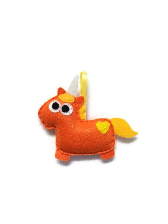 Unicorn Ornament, Felt Ornament, Seamus the Orange Sparkle Unicorn - Made to Order, Felt Animal, Mythological Creature