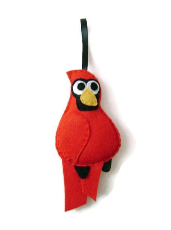 Cardinal Ornament, Felt Ornament, Holiday Ornament, Julio the Cardinal - Made to Order, Christmas Bird, Felt Animal
