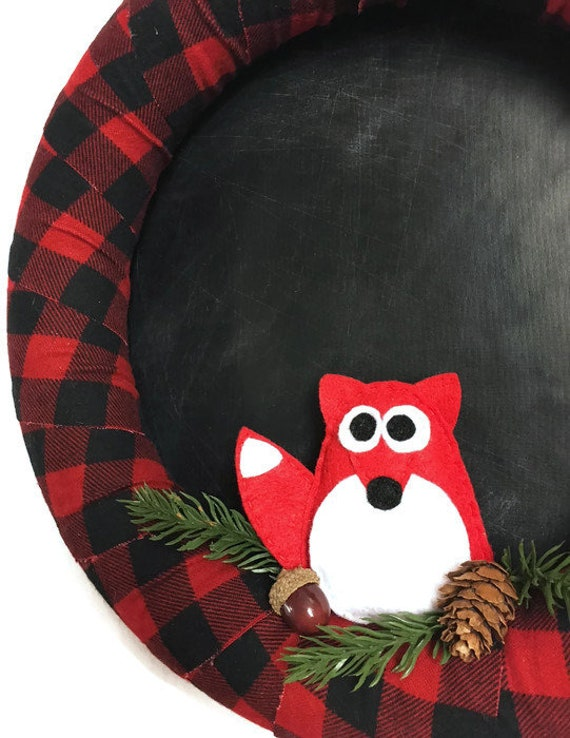 Buffalo Plaid and Chalkboard Christmas Wreath, Chalkboard Fabric Background to Personalize Yourself