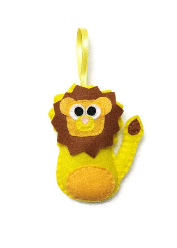 Lion Ornament, Felt Ornament, Lambert the Yellow Lion, Christmas Decoration, Gifts under 15