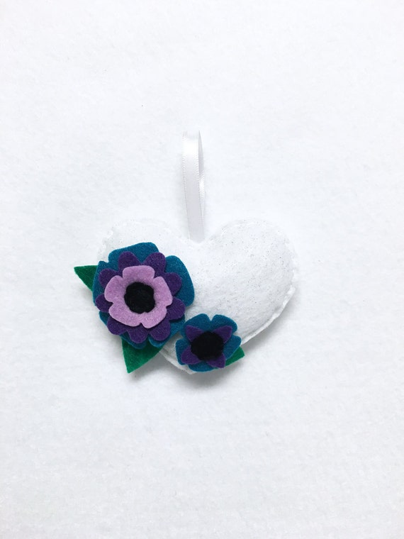 Heart Ornament, Flower Ornament, Christmas Ornament, Peacock Petals