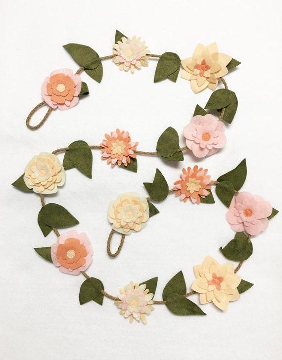 Flower Garland, Blush Blooms, Felt Flower Garland, Rustic Posable Twine