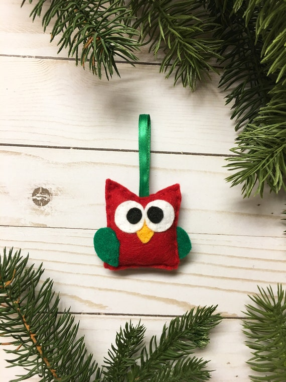 Owl Ornament, Christmas Ornament, Nancy the Red Baby Owl