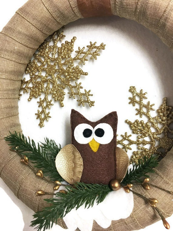 Neutral Wreath, Christmas Wreath, Owl Door hanger, Gold and Brown Owl Wreath, Hostess Gifts Under 30