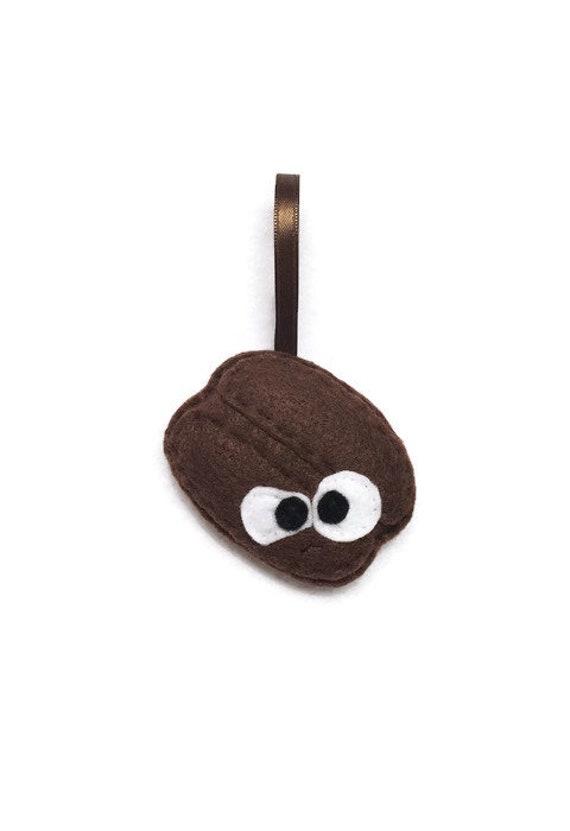 Coffee Bean Ornament, Christmas Ornament, Carlos the Coffee Bean, Felt Coffee, Super Food, Foodie Gift, Coffee lover gift