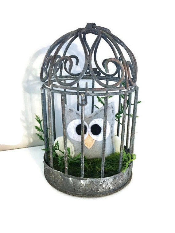 Owl Rustic Bird Cage Decoration - Farmhouse Decor, Mossy Nest with Gray Owl