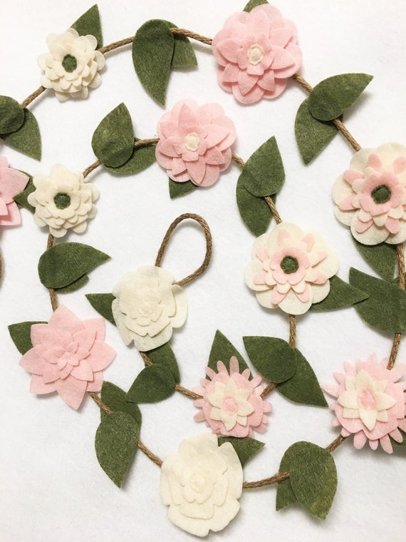 Flower Garland, Blush Pink Flowers, Felt Flowers, Posable Twine, Mantle Decoration - Made to Order