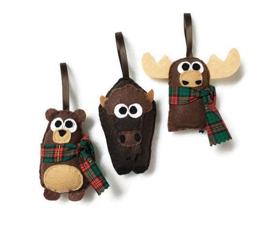 Buffalo Ornament, Moose Ornament, Bear Ornament - Set of Three Ornaments, Birthday Favors, Rustic Decoration, Christmas Ornament